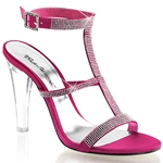 Fuchsia Satin Rhinestone Sling Back Sandals