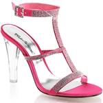 Coral Satin Rhinestone Sling Back Sandals