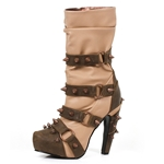 Steampunk Mid-Calf Two-Tone Boots In Tan