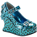 Bravo Pearlized Bondage Strap Mary Jane Platform Wedge Shoes 34-3010