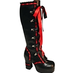 Gothika Ribbon Laced Platform Knee Boots 34-3104