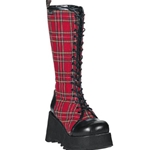 Scene Plaid Platform Lace up Knee Boots 34-3117