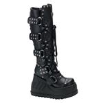 Stomp Buckle Wedge Platform Boots 34-3141