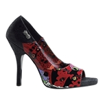 Psychobilly Print Peep Toe Pumps 34-3166