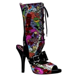 Zombie Psychobilly Print Mary Jane Sandals 34-3168