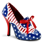 Patriotic Lace Up Oxford Pump