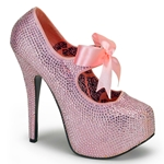 Teeze Pink Rhinestone Platform Mary Jane Pumps 34-4297
