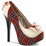 Teeze Red Plaid Penny Loafer Platform Pumps 34-4337