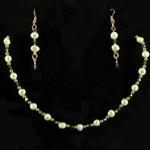 Pale Green Freshwater Pearl Necklace & Earrings Set