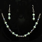 Japanese Jade Stone Necklace & Earrings Set 37-4081