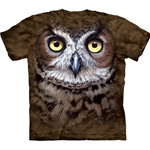 Great Horned Owl Head Adult T-Shirt 43-1034470