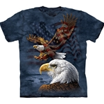 Eagle Flag Collage Adult T-Shirt 2X-Large