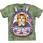 Patriotic Backpack Kitten Adult T-Shirt 43-1082160