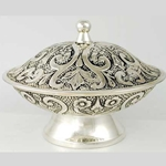 Silver-Plated Floral Ritual Bowl 45-RB846