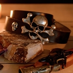 Bellamy Belt Black Leather with Skull and Crossbones Buckle