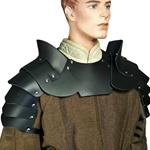 Medieval Leather Pauldrons with Gorget Armour Set, LARP