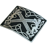 Saltire Lion Rampant Belt Buckle, Black Enamel 50-100