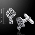 Celtic Cross with Celtic Knotwork Silver Cufflinks 52-CL043