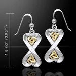 Danu Silver and Gold Celtic Knotwork Earrings