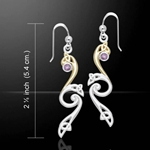 Elegant Silver & Gold Amethyst Earrings 52-MER570