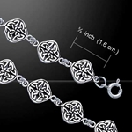 Celtic Knotwork Four Point Quaternary Knot Silver Bracelet 52-TBG072