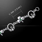 Irish Claddagh & Shamrock Silver Bracelet with Emerald Glass