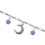 Celtic Crescent Moon - Sterling Silver Bracelet with Gemstone