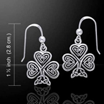 Celtic Knotwork Shamrock Silver Earrings