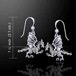 Silver Clawing Dragon Earrings