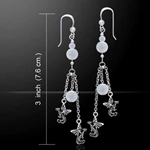 Suspended Dragons with Beads Silver Earrings 52-TER136