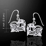 Silver Borre Viking Earrings