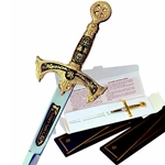 Miniature Damascene Templar Knight Sword Letter Opener by Marto 56-M5503-1