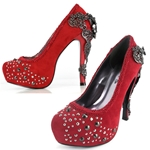 Victorian Renaissance Platform Pumps In Red