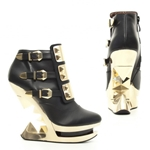 Golden Iceberg Wedge Ankle Boots In Black