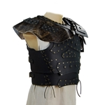 Barbarian Leather Breastplate with Shoulders - Black