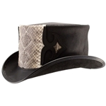 Black and Rattlesnake Leather Caliber Hat