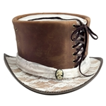 Lace and Leather Top Hat in Brown and White