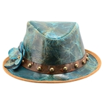 Teal Leather Hat