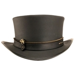Zippered Leather Top Hat in Black