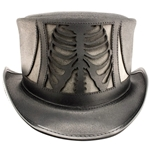 Skeletor Leather Top Hat in Black and Graphite
