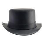 Short Brim Leather Hat in Black