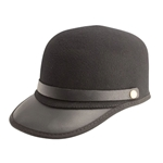 Black Felt and Leather Cap