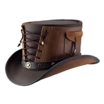 Vested Leather Top Hat in Brown