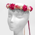 Wild Rose Wreath in Coral and Cream