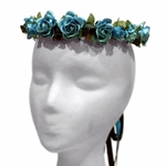 Wild Rose Wreath in Teal