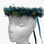 Floral Hair Wreath in Blues