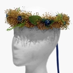 Gold and Blue Floral Hair Wreath