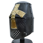 Crusader Helmet with Brass Cross - Antiqued Finish