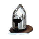 Mini Barbuta Helmet with Wooden Stand