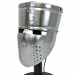 Templar Pot Helmet with Faceplate - 18 Gauge